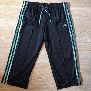 Adidas Cropped Track Pants Navy Blue 3 Stripe